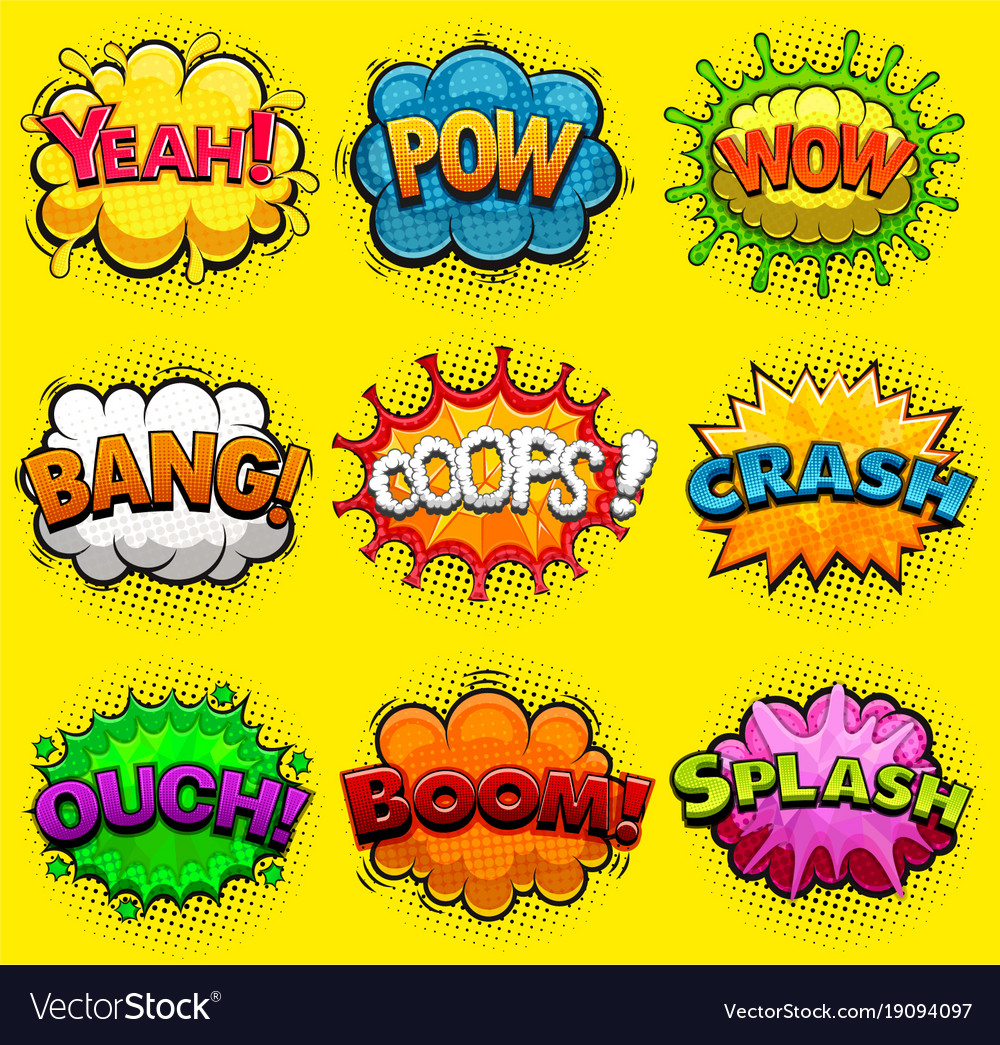 multicolored comic speech bubbles sound effects vector image