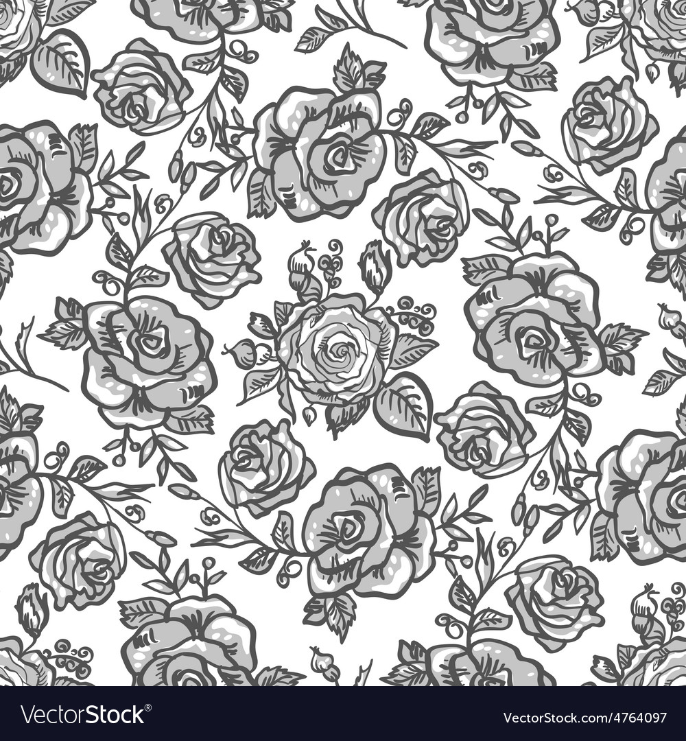 Pattern grey rose branch