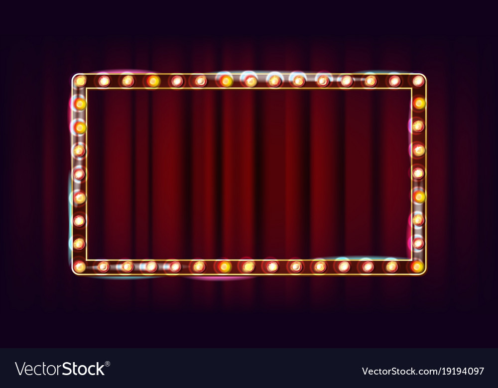 Retro billboard shining light sign board vector image