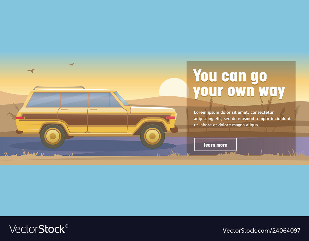 Road trip poster with car on beautiful sunset