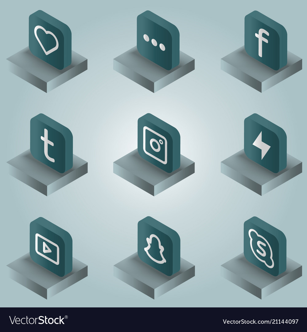 Social network color gradient isometric icons