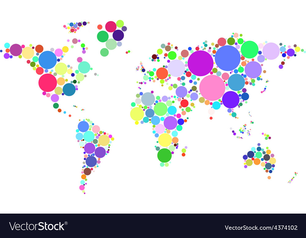 Abstract worldmap colorful dots isolated on white