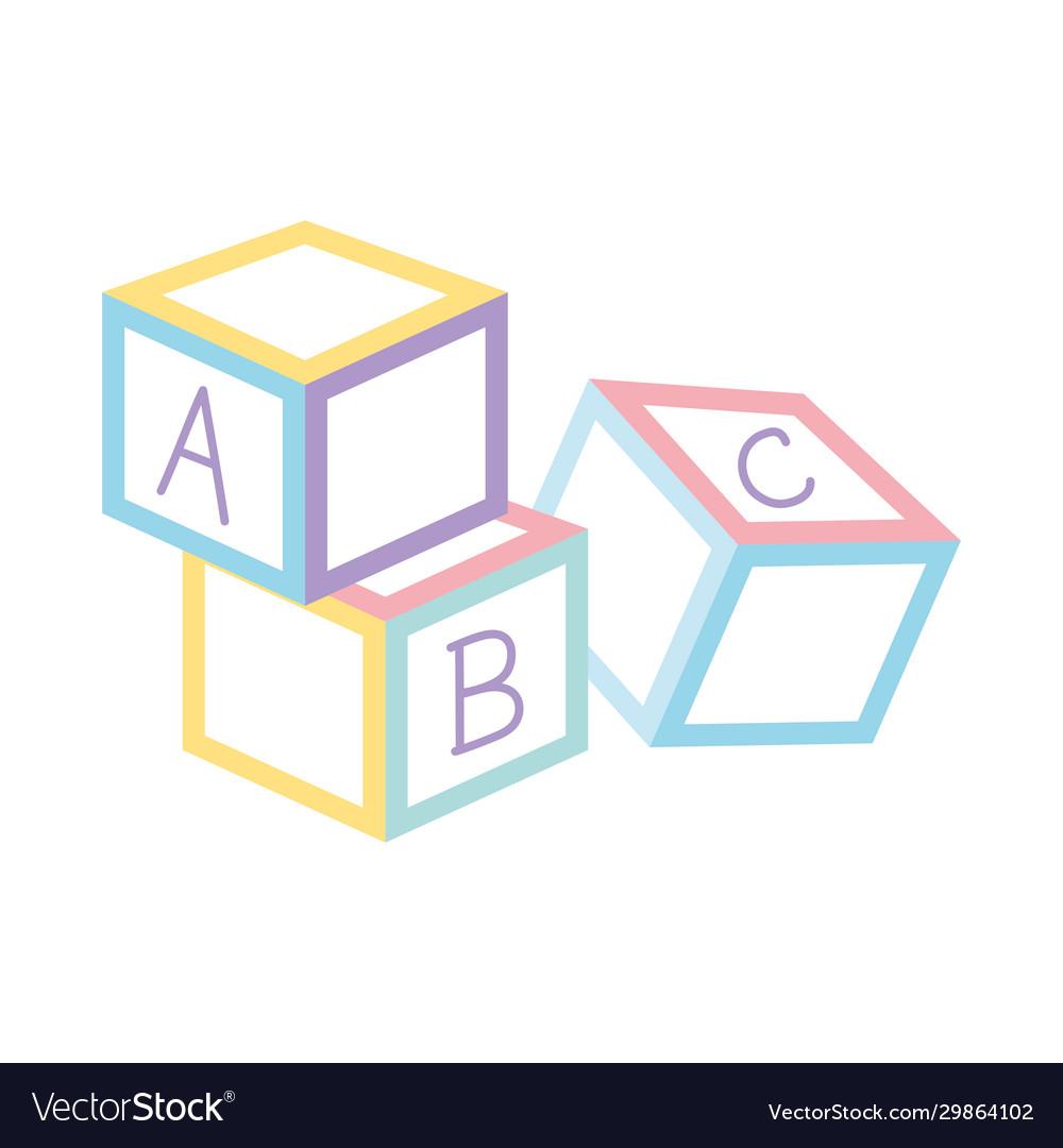 Alphabet blocks toys icon design white background