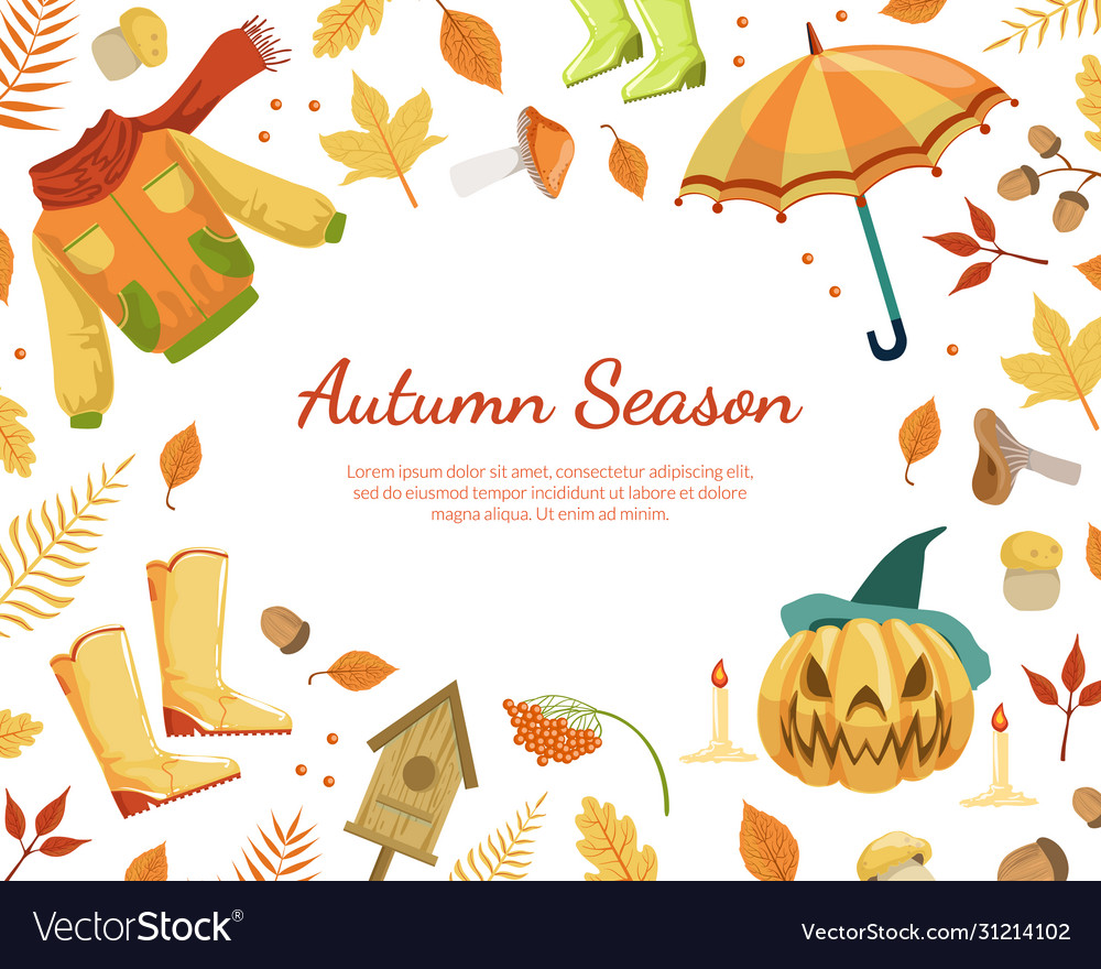 Autumn season banner template with colorful leaves