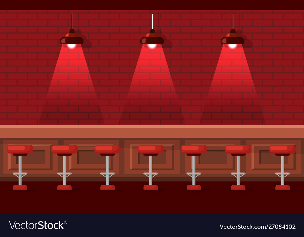 Bar or pub with empty stools and tables