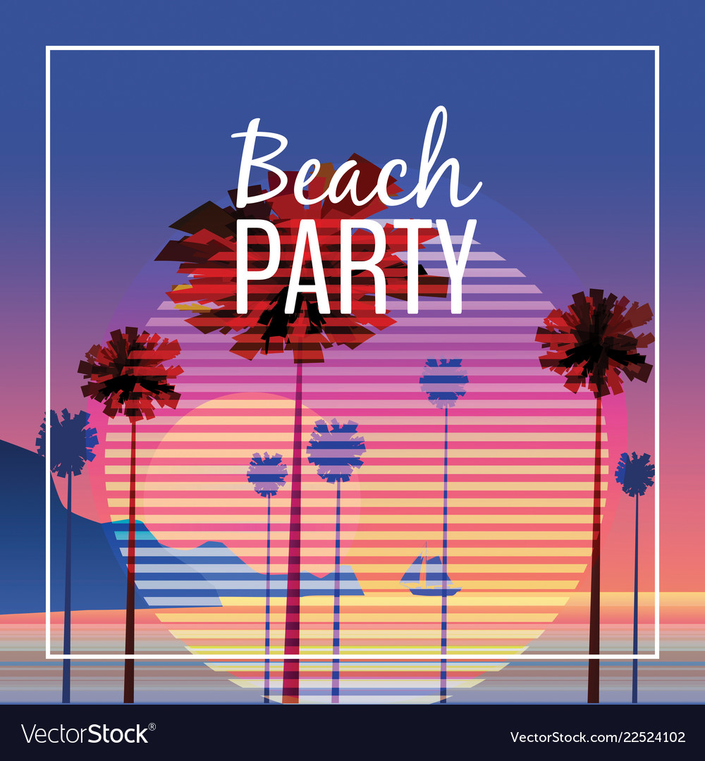 Beach party at seashore sea landscape with palms