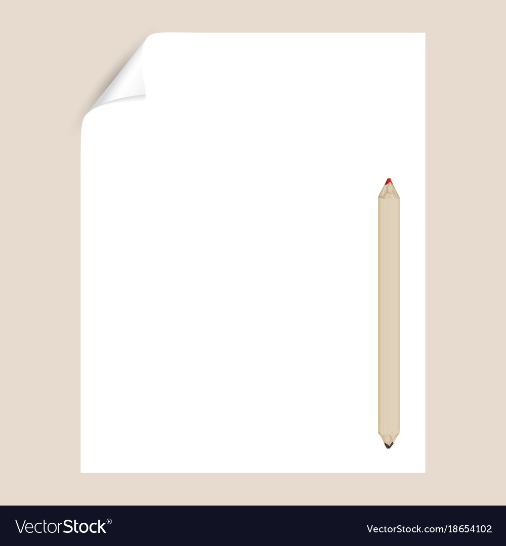 Blank Paper Page With Pencil Empty Template Vector Image