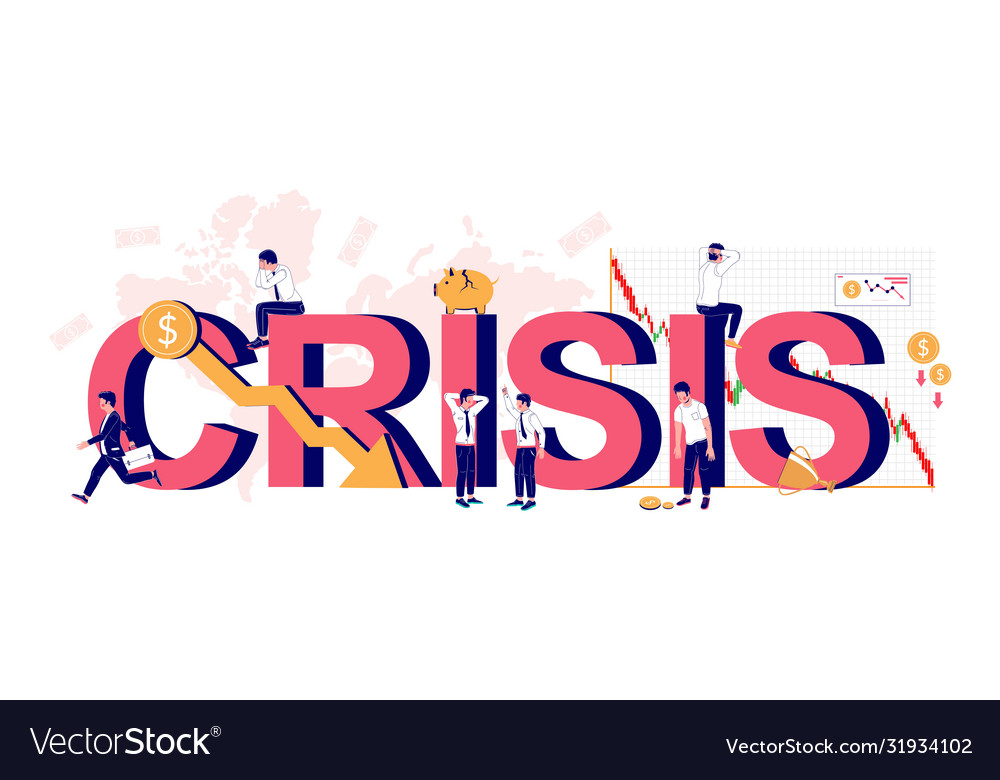 Crisis typography banner template flat
