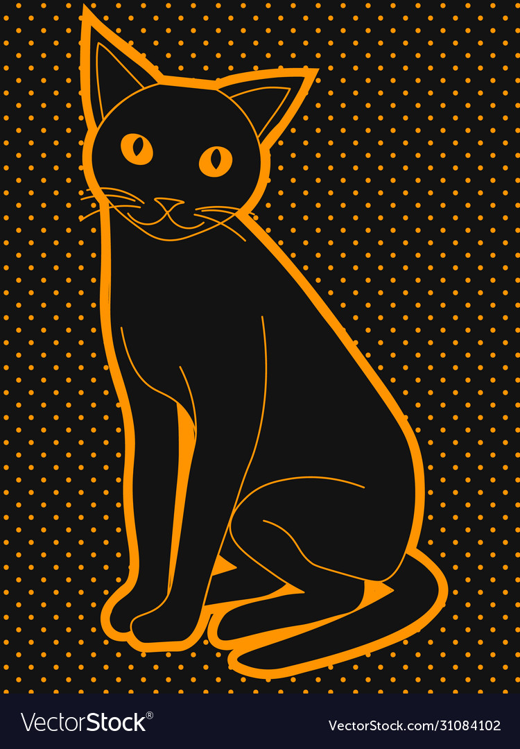 Cute Black Cat With Yellow Eyes Royalty Free Vector Image