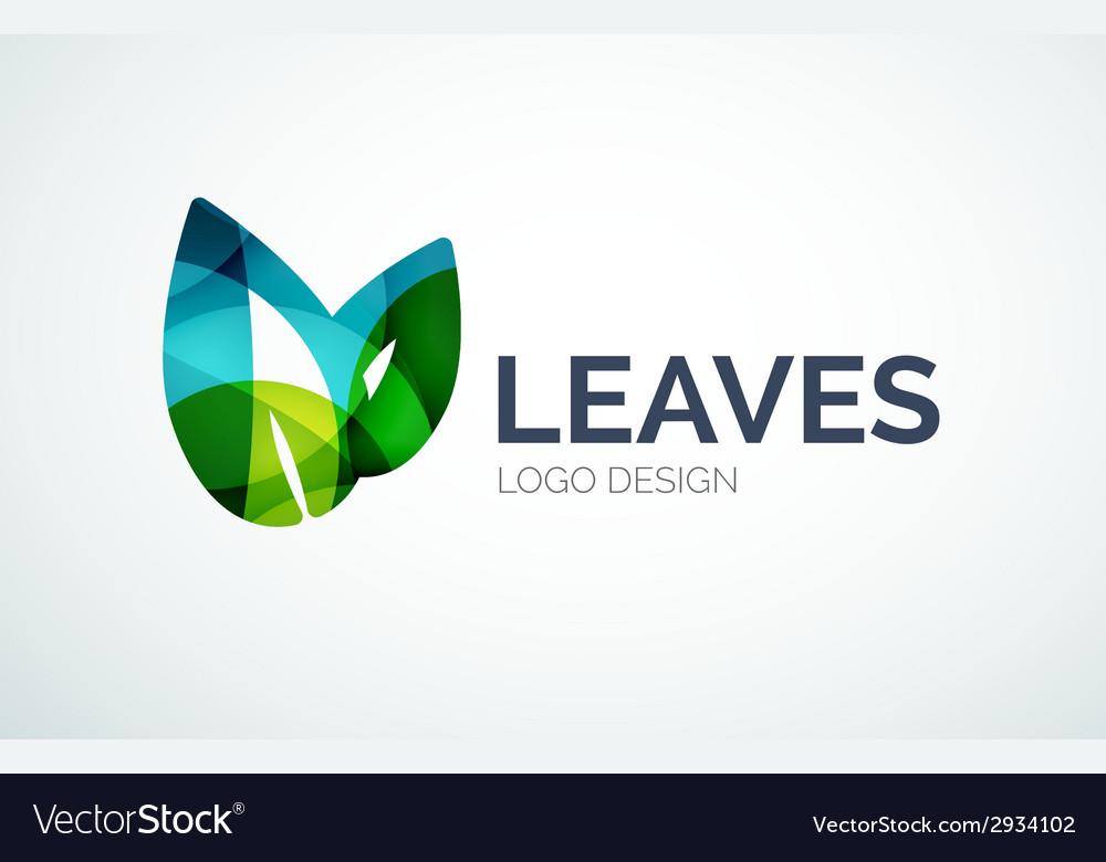 Eco leaves logo design made of color pieces