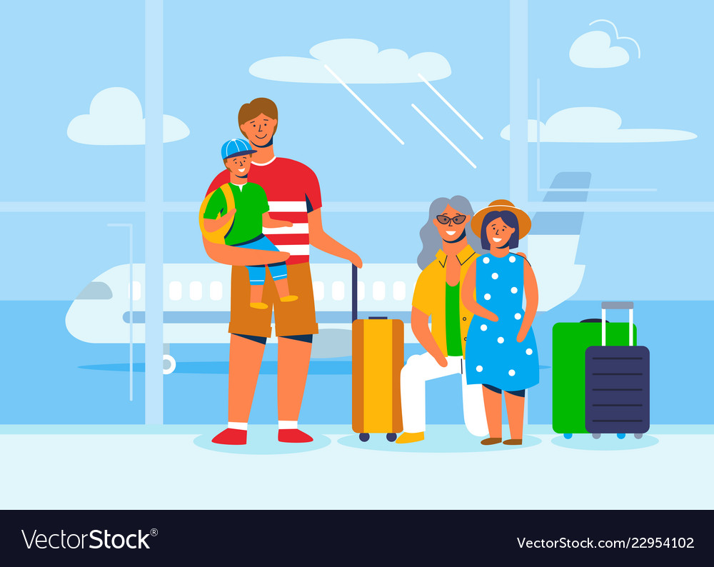 Family characters on vacation travel at airport