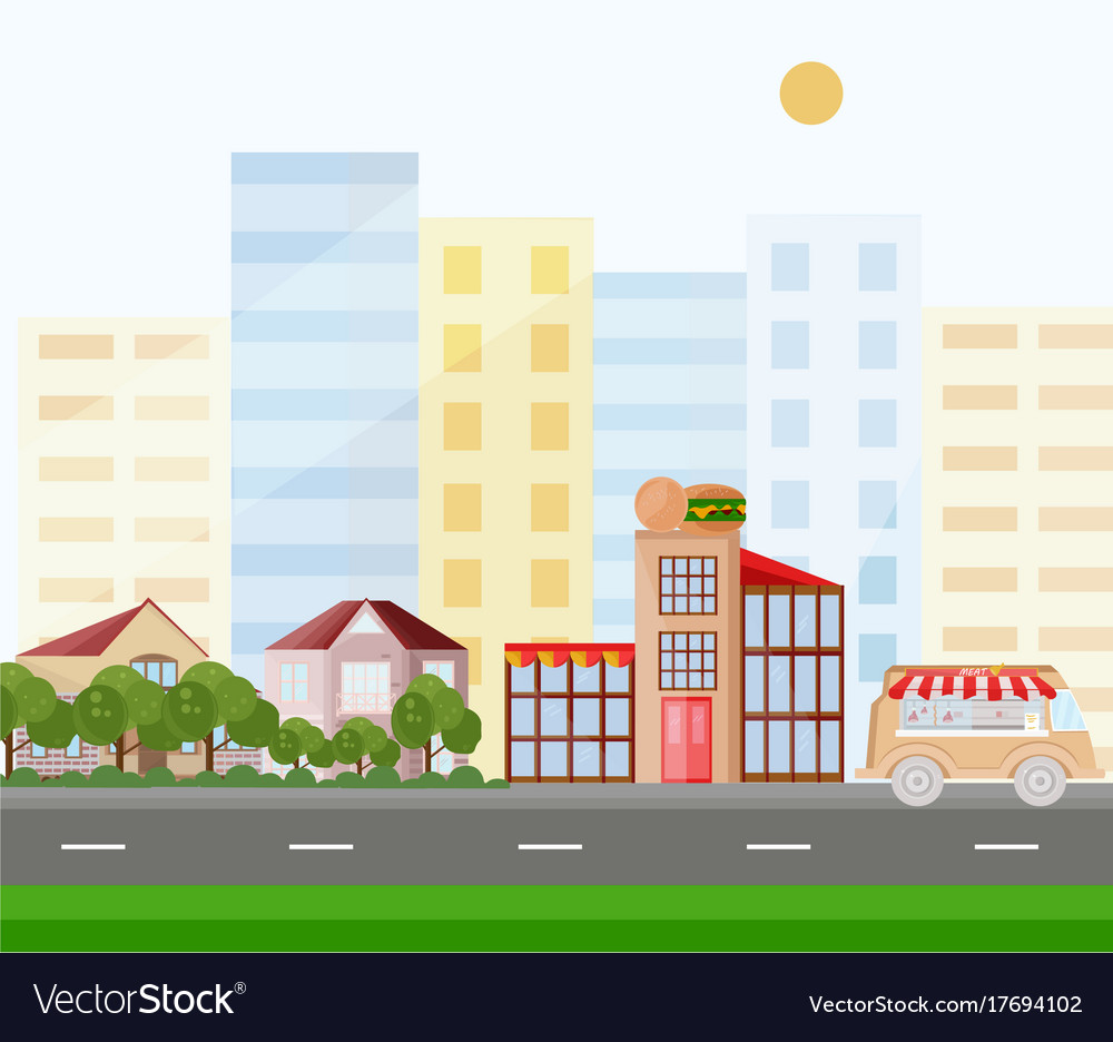 Fast food buildings street view background