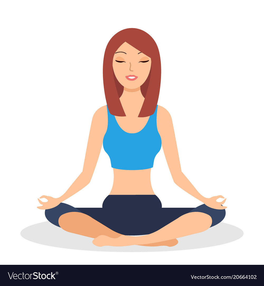 Fitness girl does yoga training sitting in half vector image