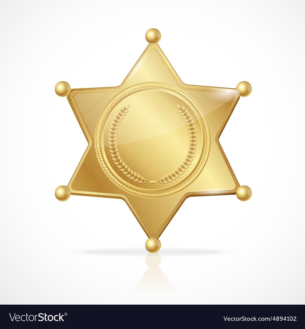 Golden sheriff badge star empty