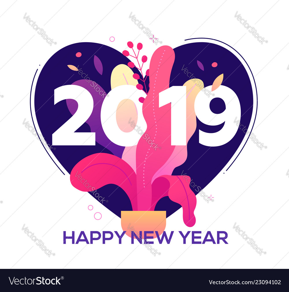 happy new year modern flat design style vector image