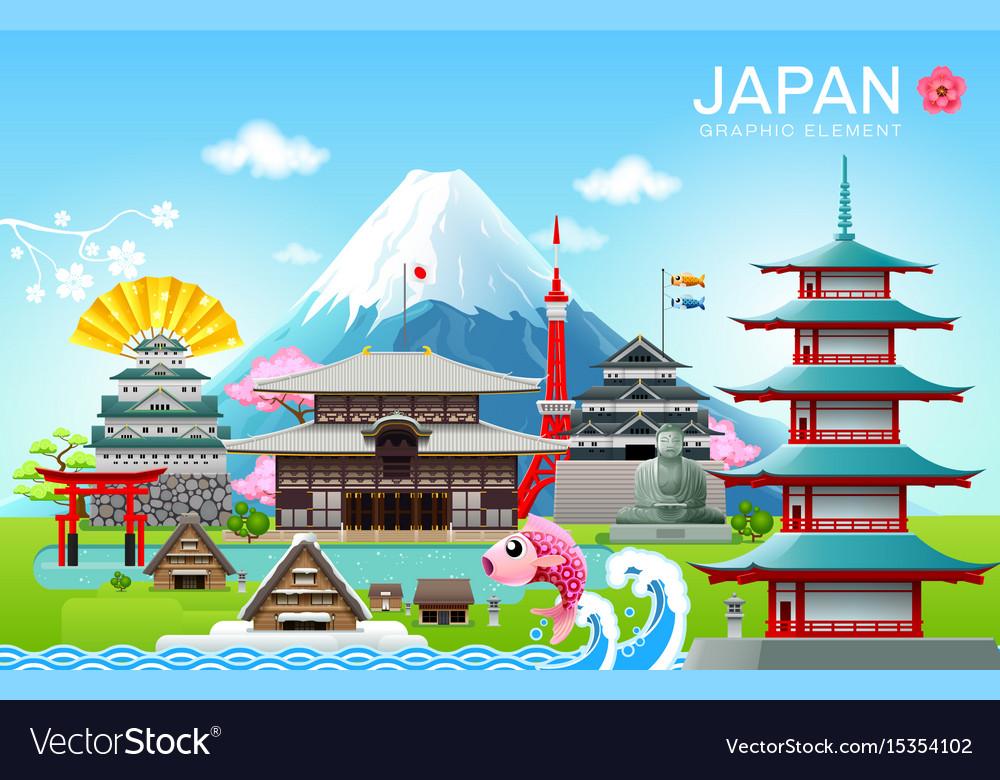 Japan landmark travel object