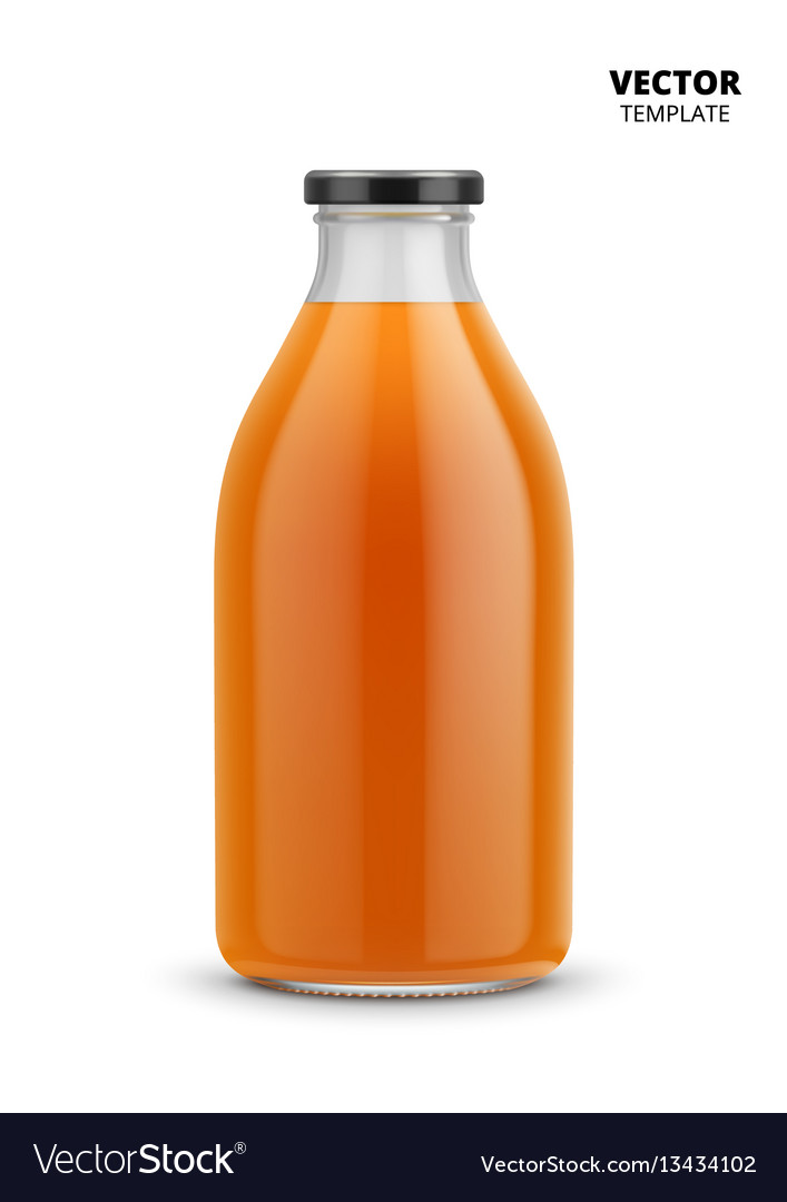 Juice bottle glass mockup isolated vector image