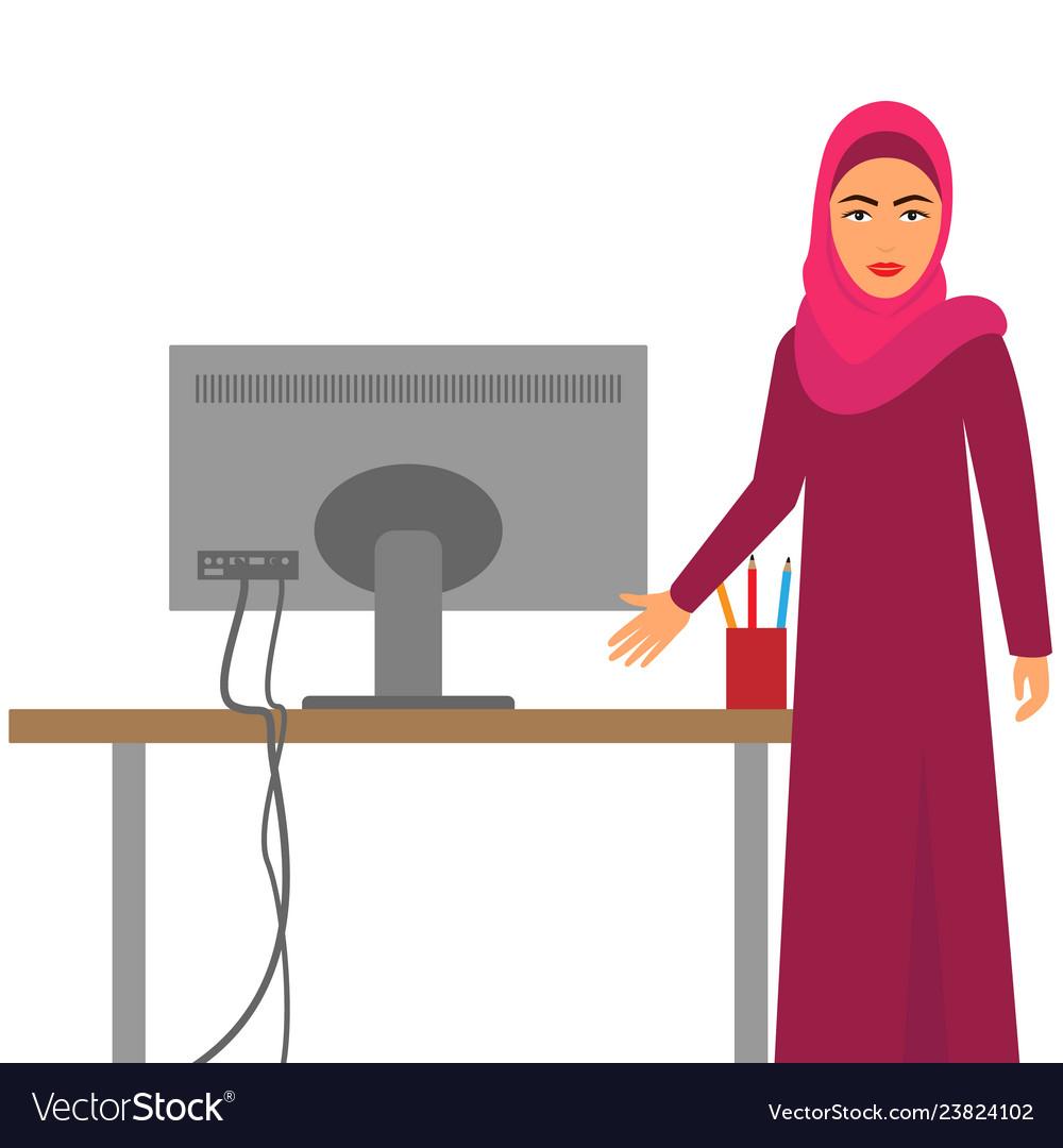 Muslim woman at work arab business