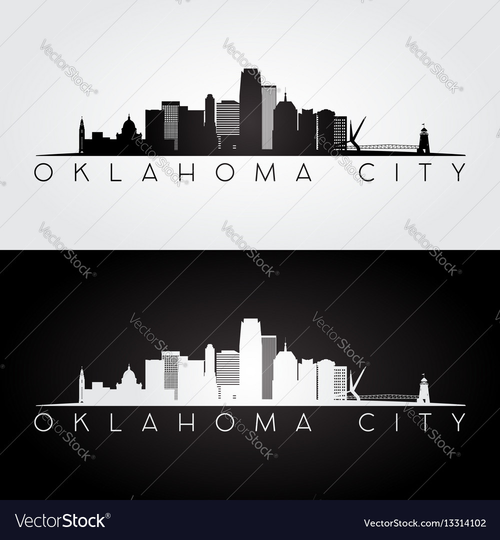 Oklahoma city usa skyline and landmarks silhouette
