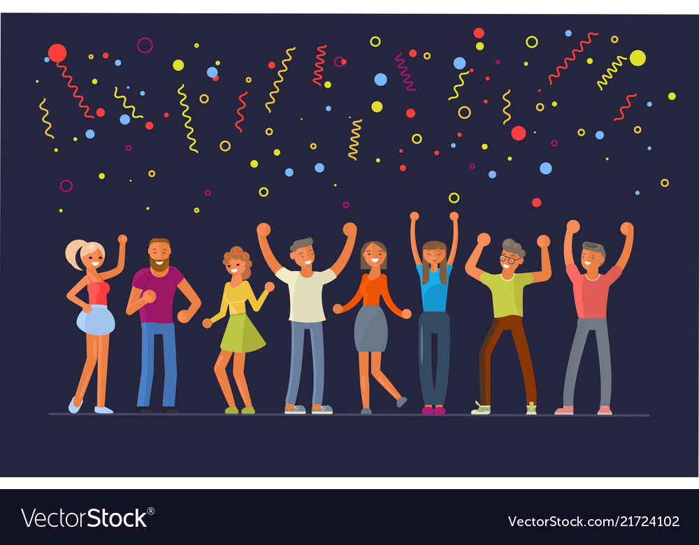 People dancing in flat design