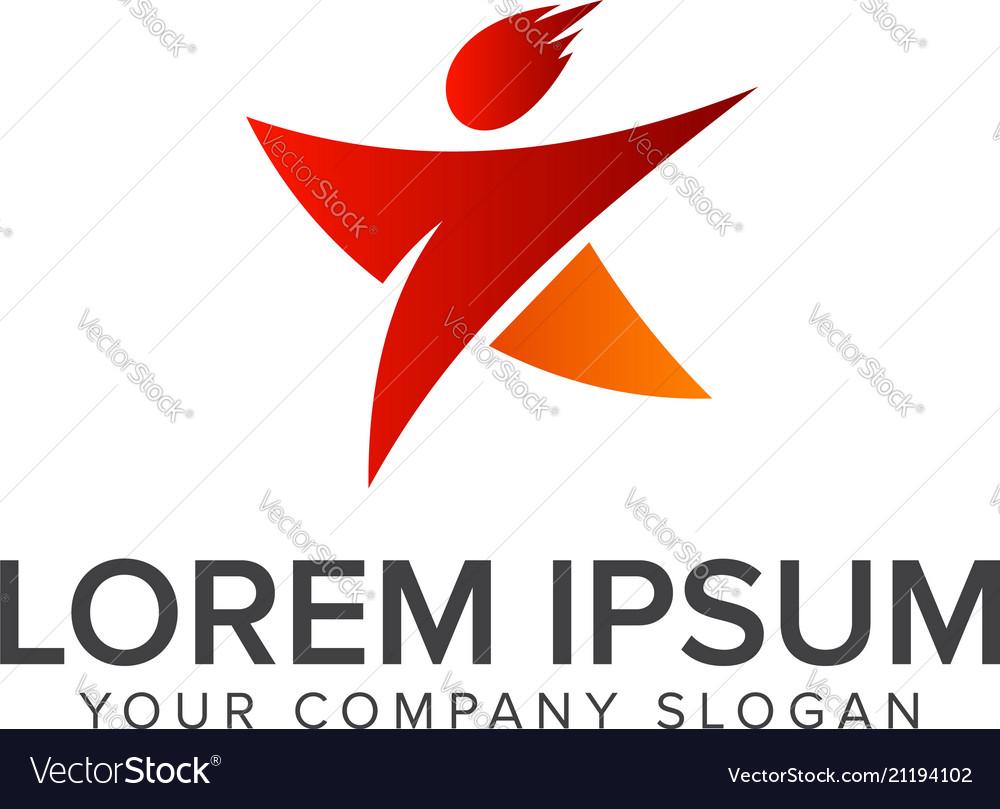 Star people logo design concept template design
