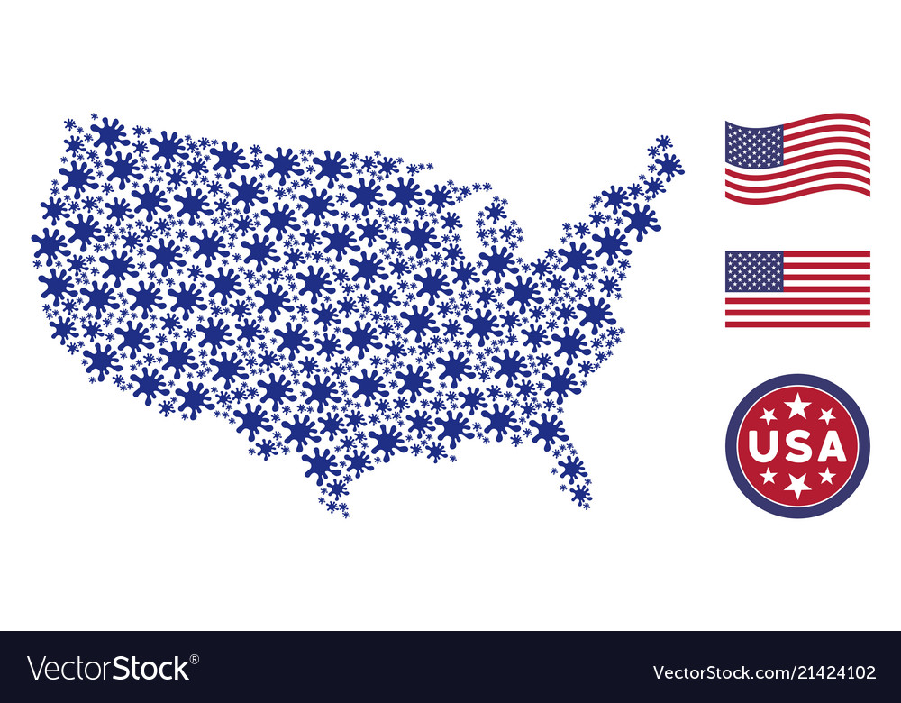 united states map collage of blot vector image