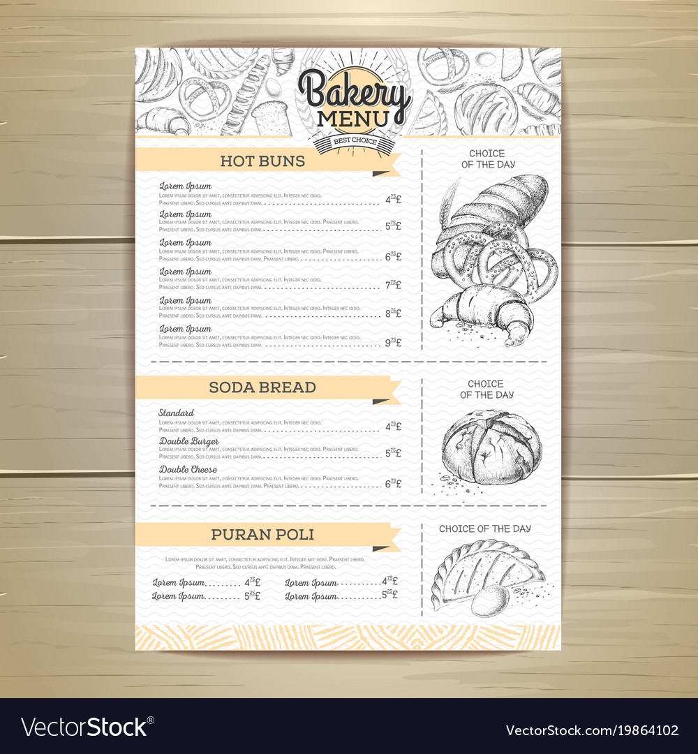 Vintage bakery menu design restaurant menu vector image thecheapjerseys Images