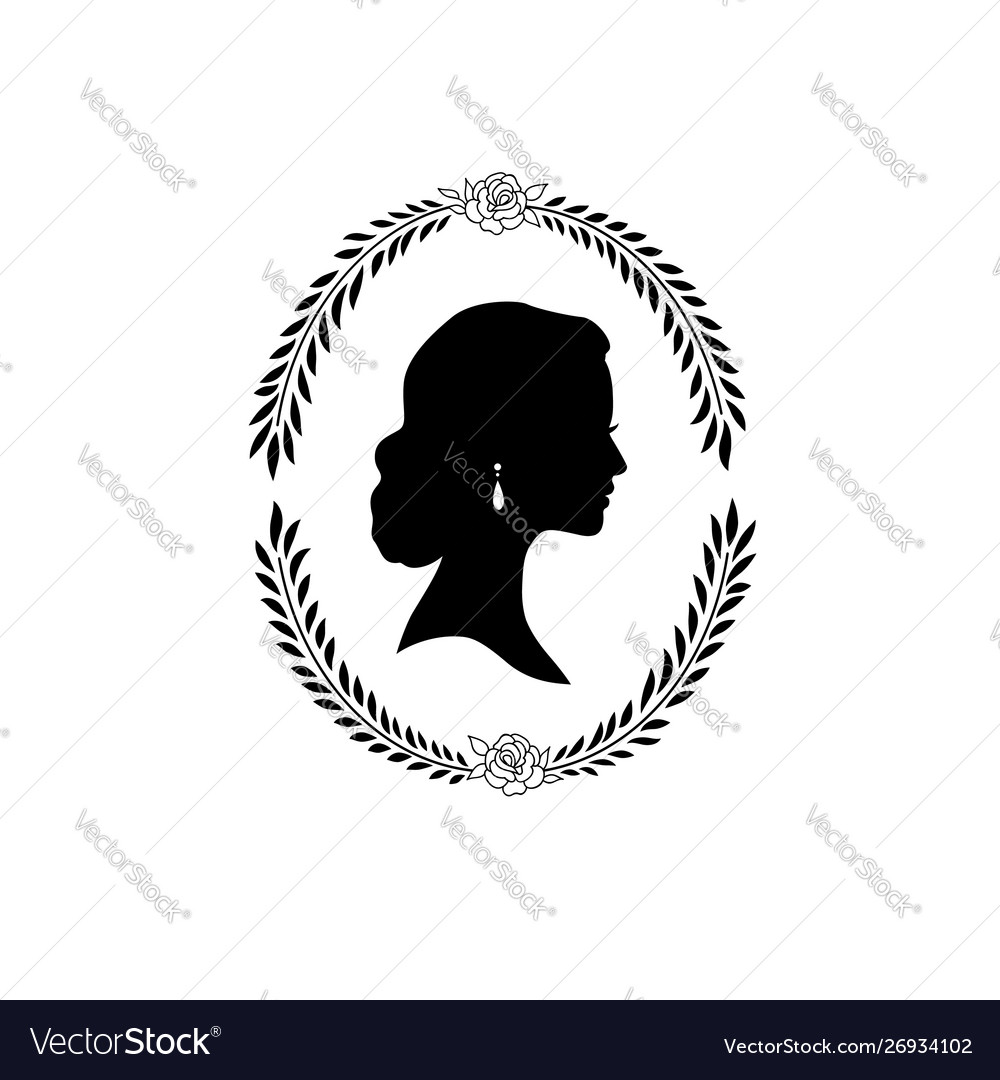 Woman face silhouette in oval floral frame lady