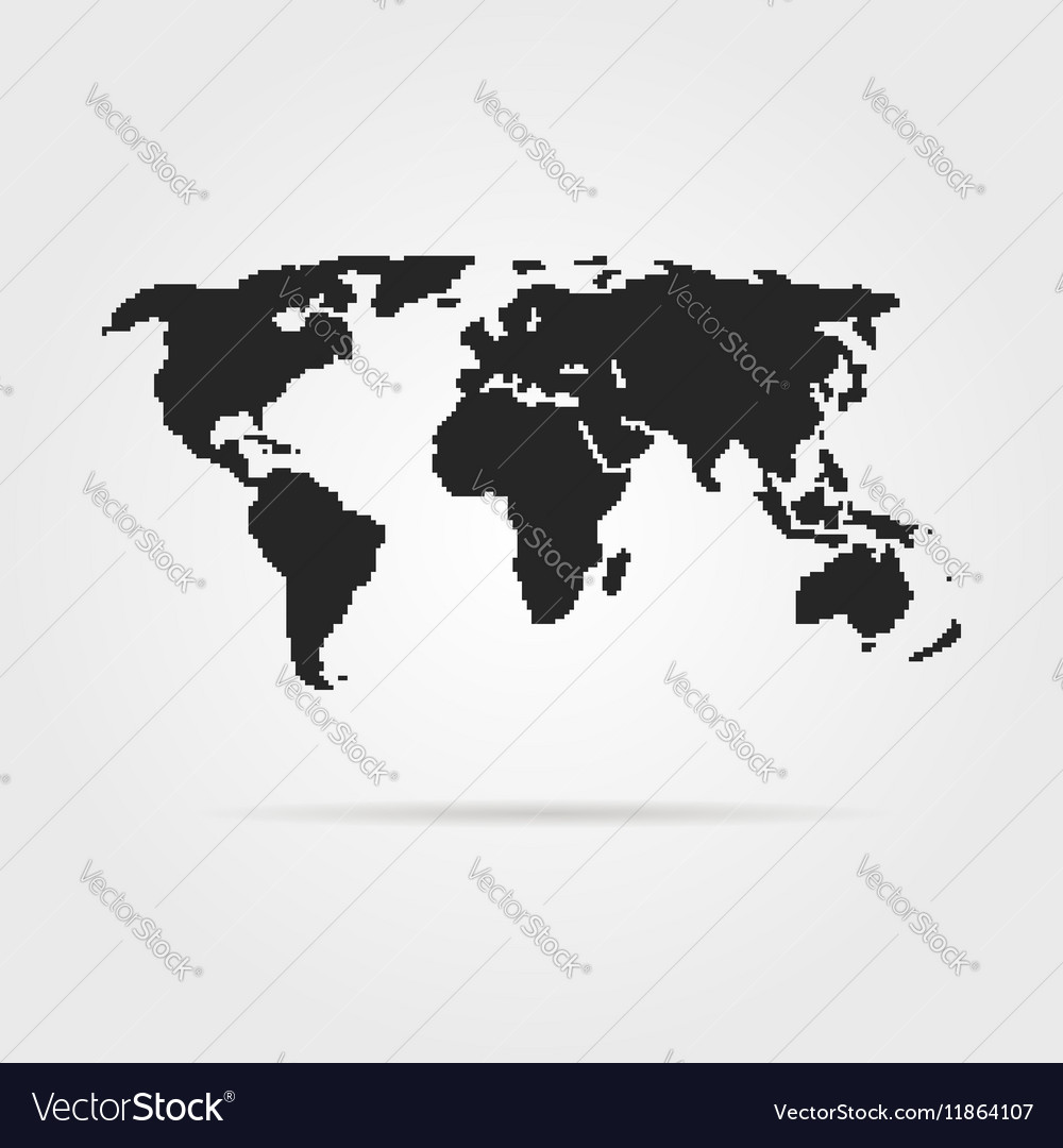 Black pixel art world map with shadow royalty free vector black pixel art world map with shadow vector image gumiabroncs Choice Image