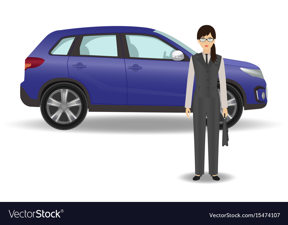 Businesswoman on a luxury car background office