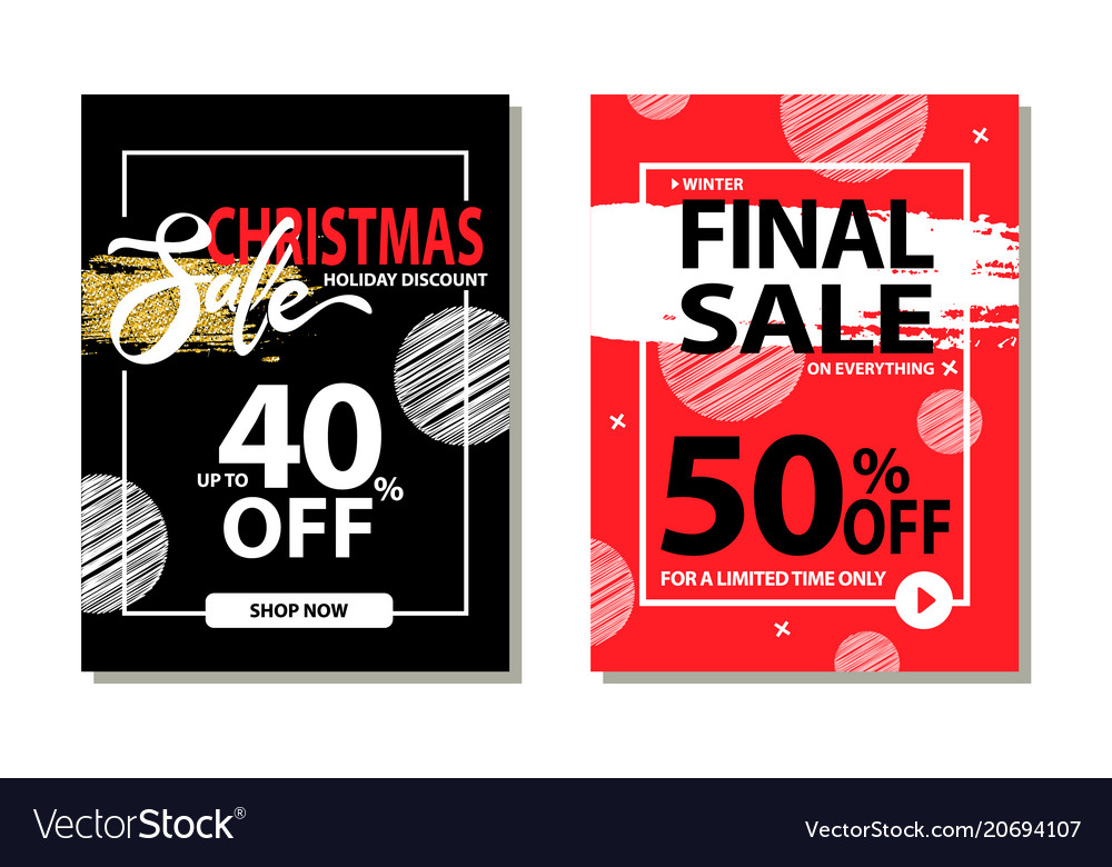 christmas sale holiday discount final prices 50 vector image