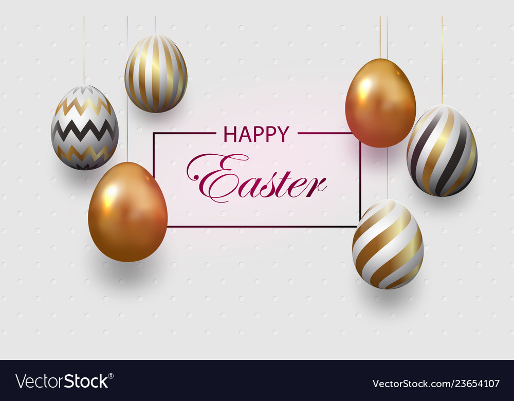 Composition of easter eggs festive background on
