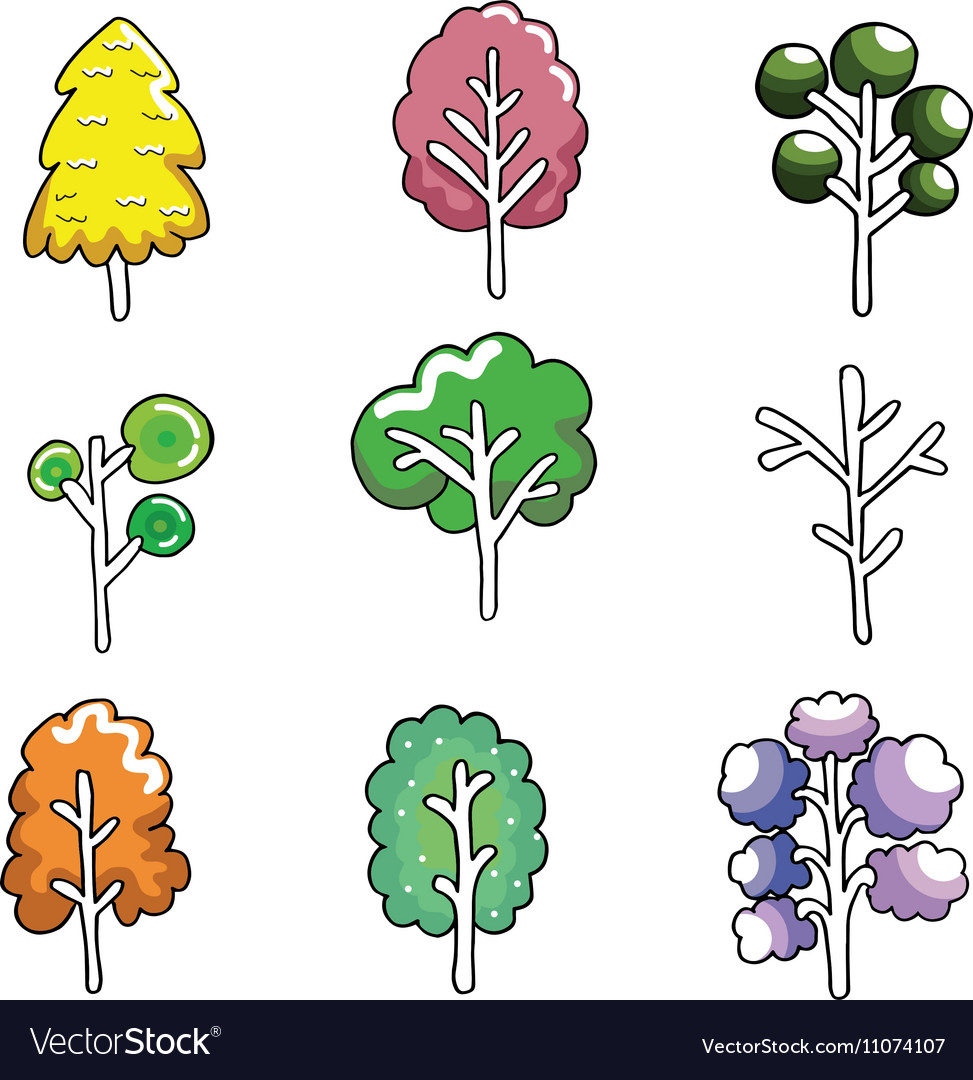 Doodle of cute tree color set vector image