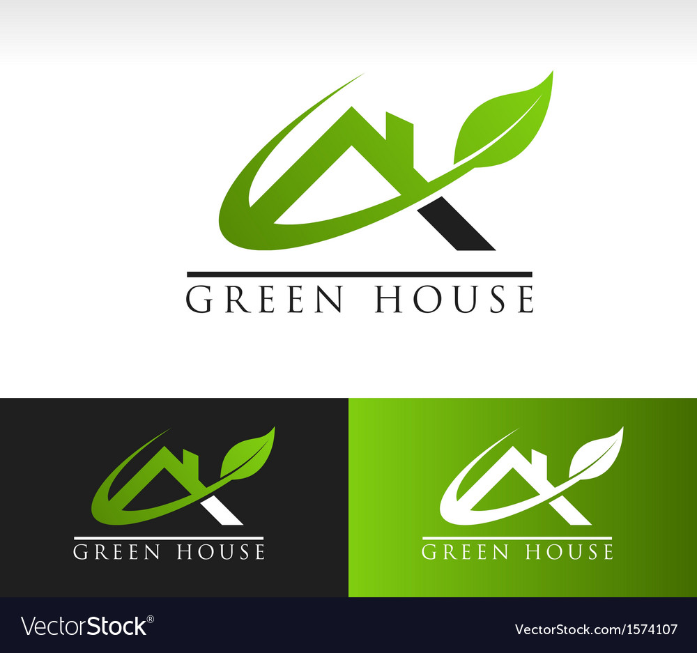 Green House Roof Logo Icon