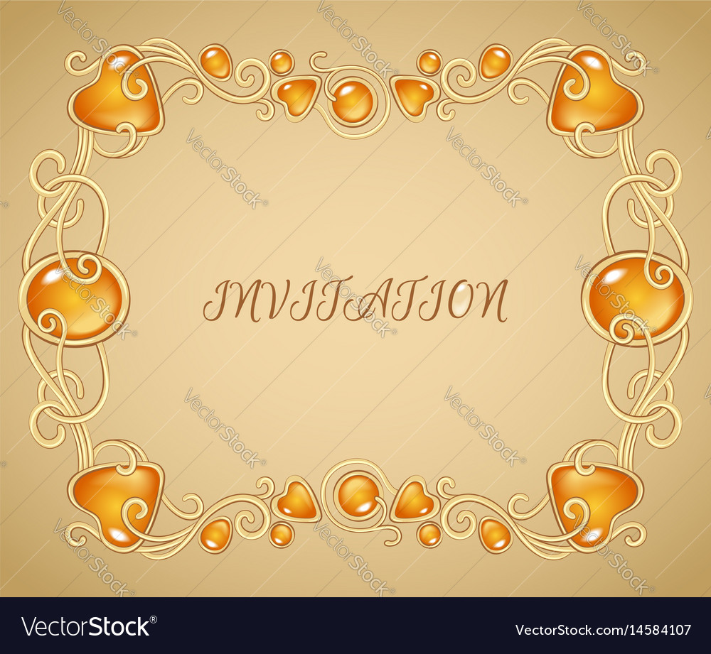 Jewelry invitation card template gold and ember vector image stopboris Choice Image