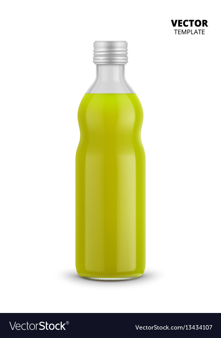 Juice bottle glass mockup isolated vector image