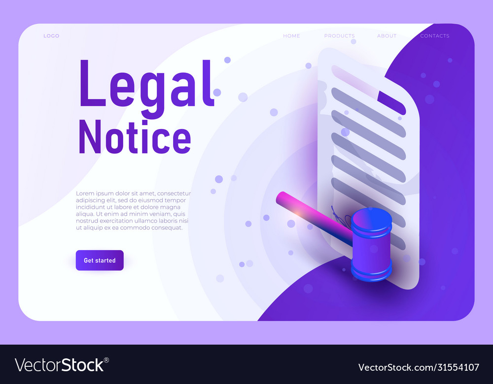 Legal notice landing page template