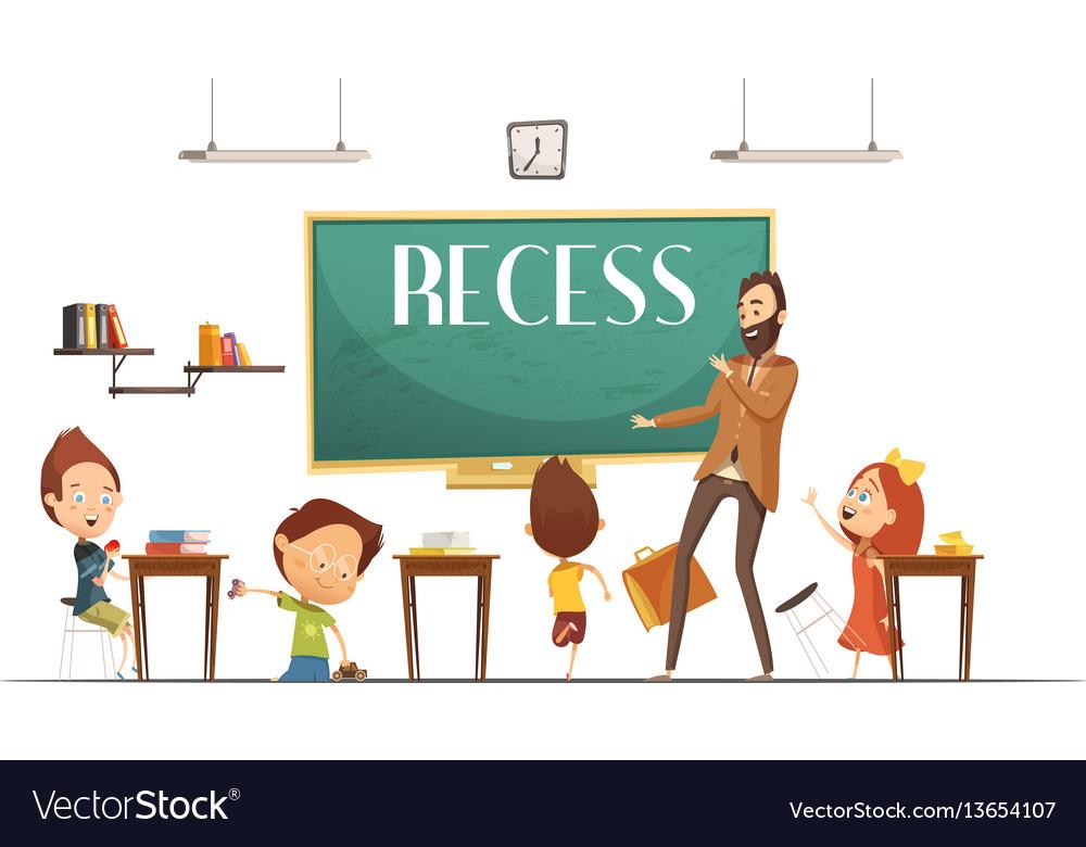 Primary school recess break cartoon