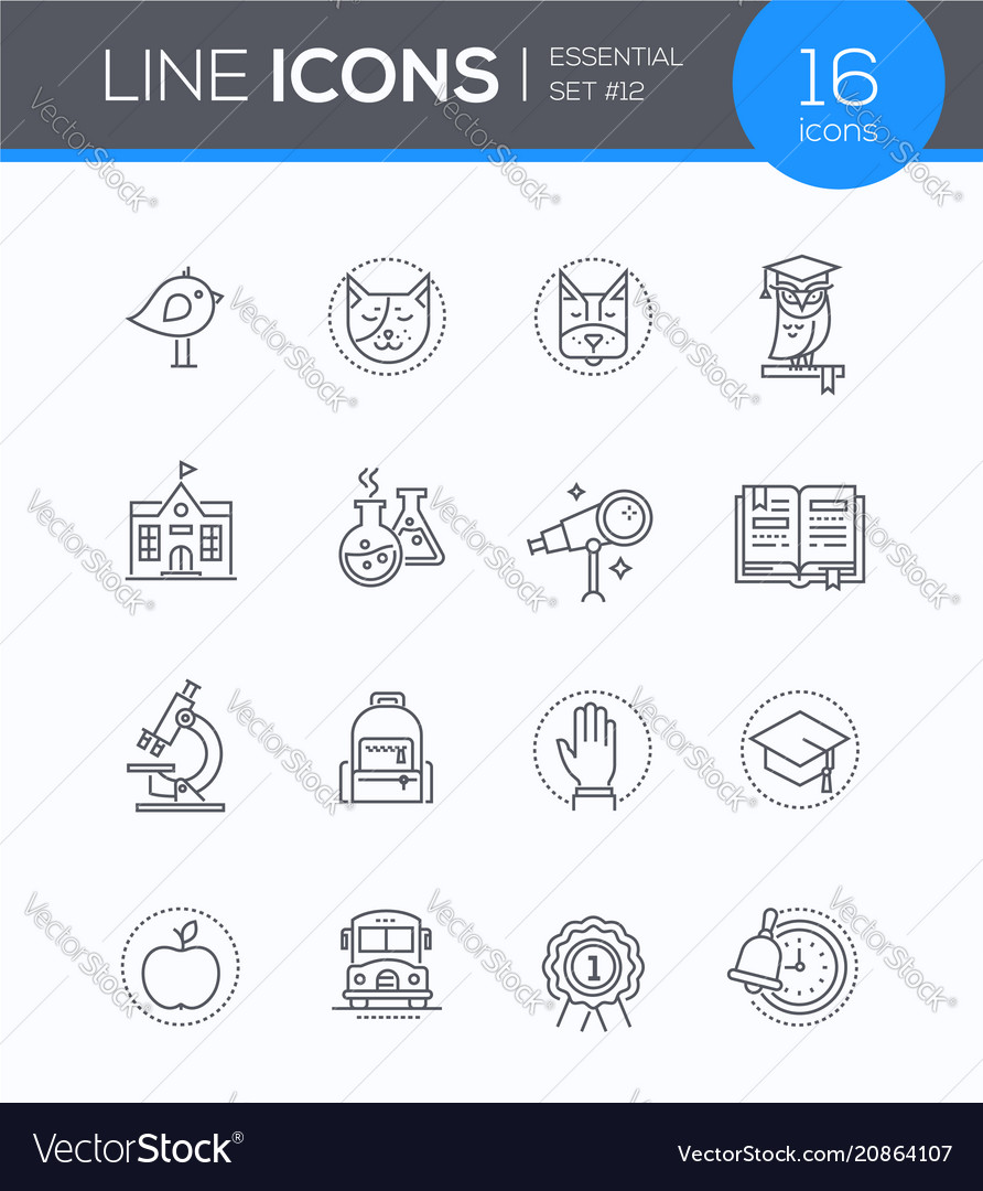 School concepts - modern line design style icons