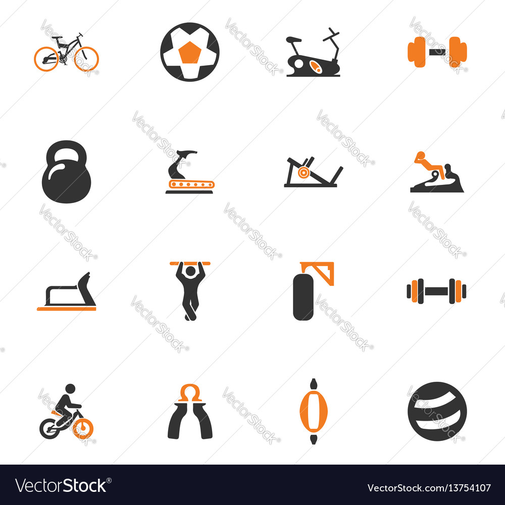 Sport equipments icons set
