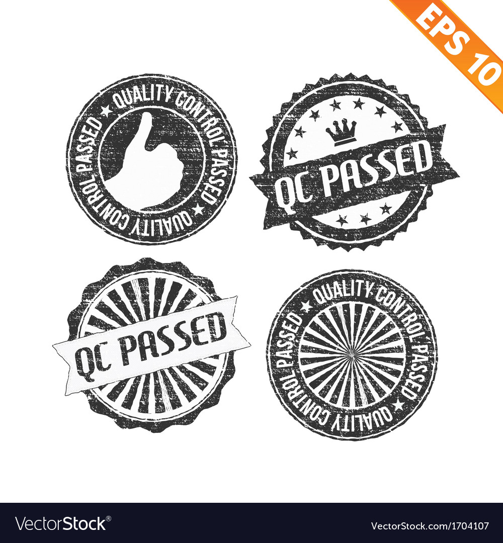 Stamp sticker QC Pass collection - - EPS10