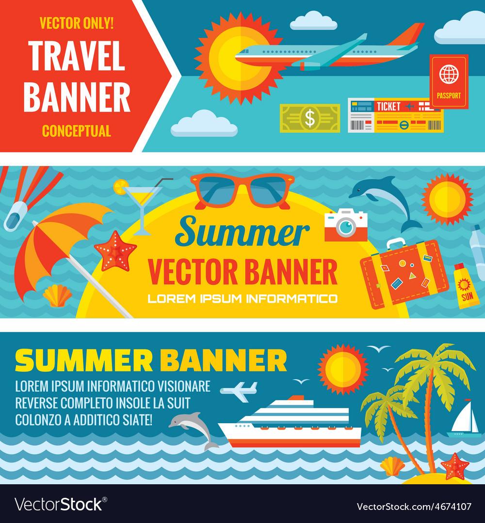 Summer travel - decorative bannrs