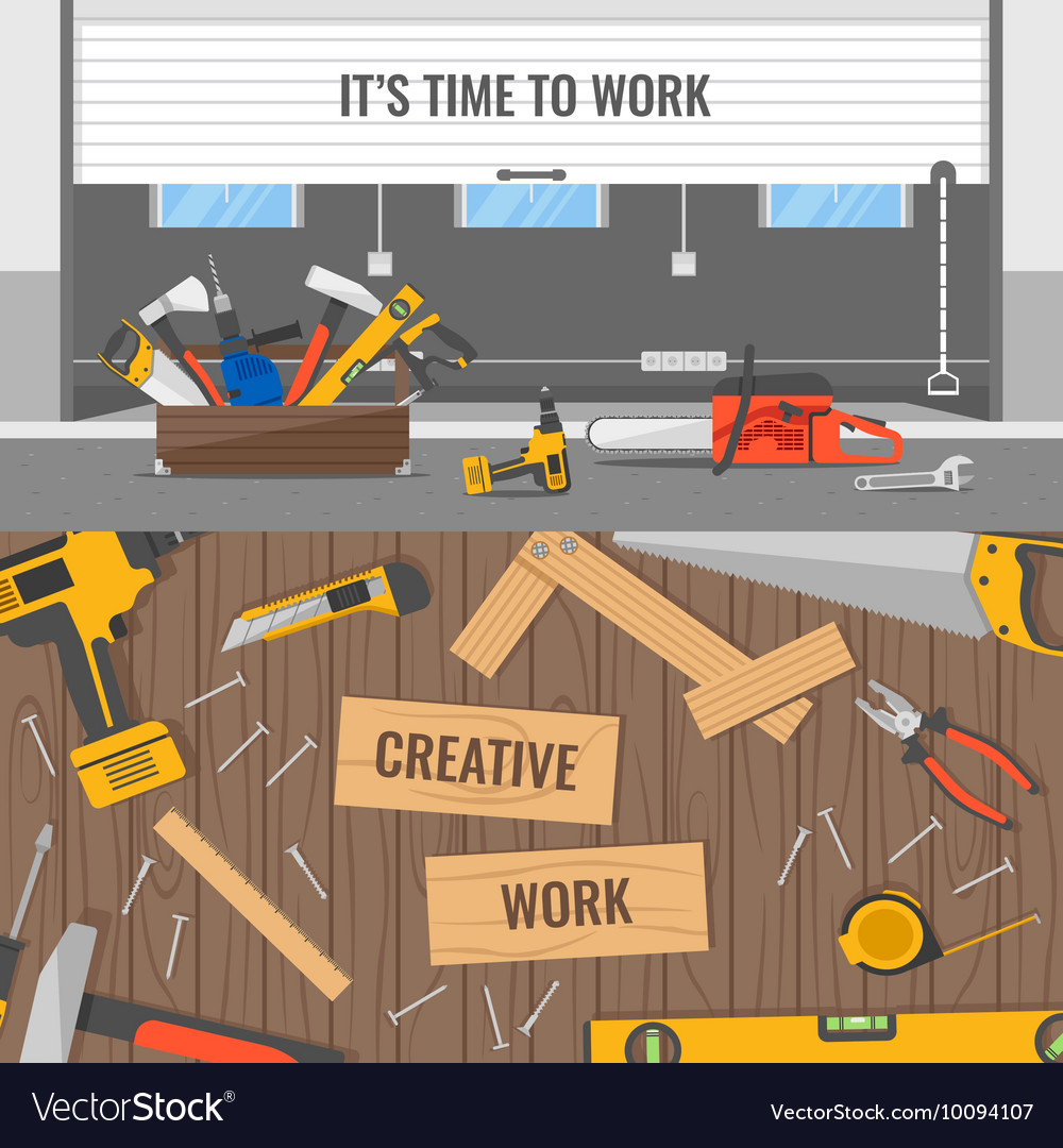 Workplaces And Tools Compositions vector image