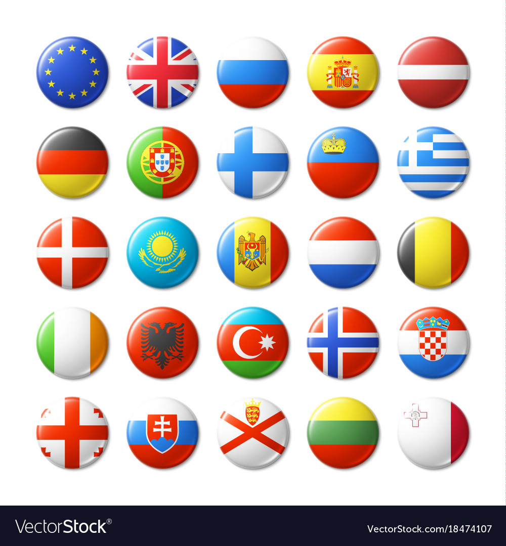World flags round badges magnets europe