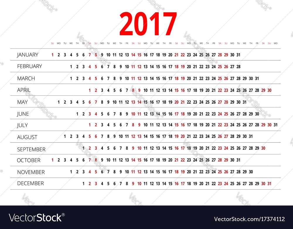 2017 calendar print template week starts sunday