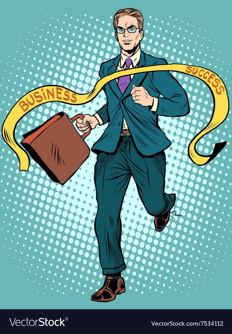 Finish line businessman winner leader vector image