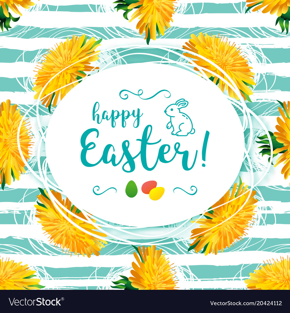 Happy easter greeting card yellow