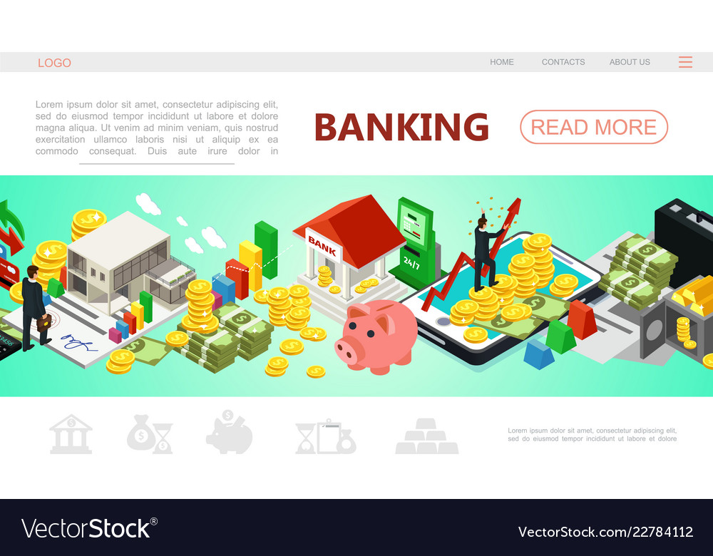 Isometric banking web page template