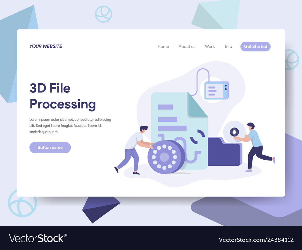Landing page template of 3d file document