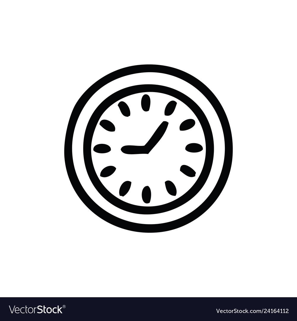 Line drawing cartoon wall clock